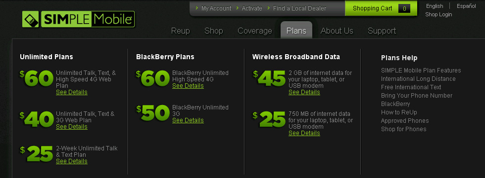 Simple Mobile plans – new $40 unlimited plan and unlimited