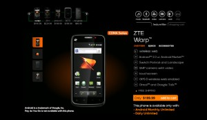 ZTE Warp now only $199.99