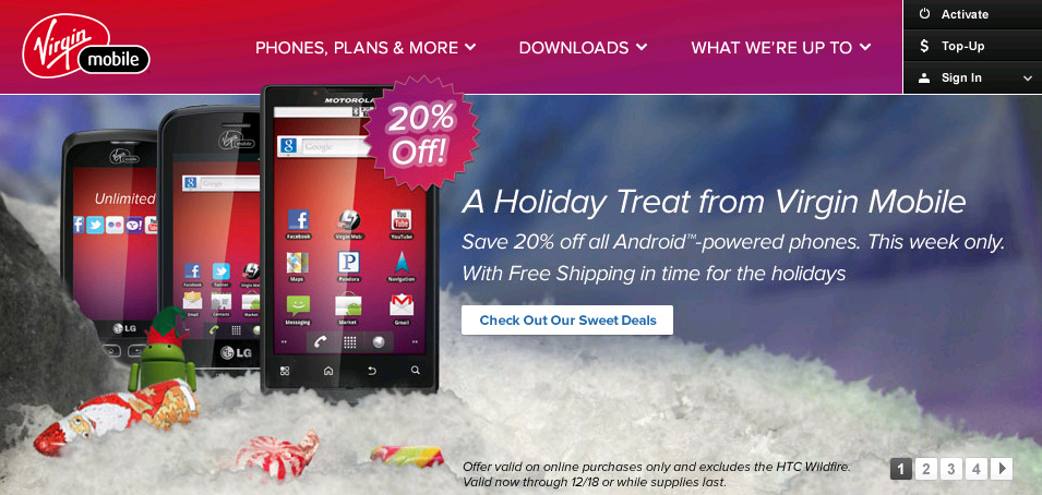 Get 20 Percent Off On Virgin Mobile Android Phones Available Until December 18 Prepaid Mobile Phone Reviews
