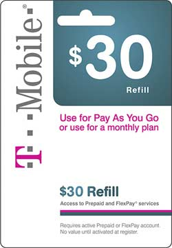 Free $30 refill card promotion on T-Mobile with purchasing