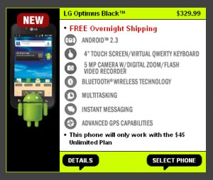 Straight Talk LG Optimus Black available for $329.99