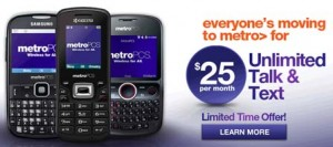 MetroPCS $25 Unlimited talk and text plan is available as a limited time offer