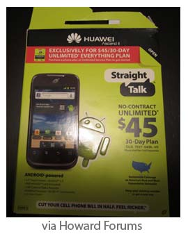Straight Talk Huawei Ascend II appeared at Walmart stores