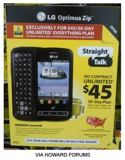 Straight Talk LG Optimus Zip available now