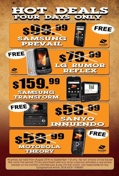 Free Boost Mobile phones with new activation, starting