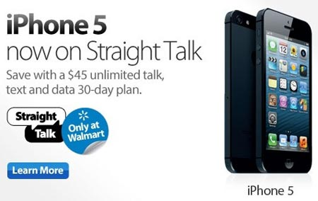 Straight Talk iPhone 5, 4S and 4 available at Walmart, all run on Verizon network
