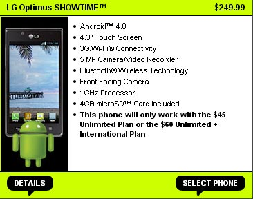 Straight Talk adds LG Optimus Showtime for $249.99