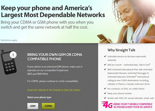 Straight Talk CDMA BYOP site goes live