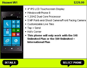 Straight Talk adds Huawei W1 Windows Phone 8 phone, AT&T-powered, to its lineup