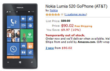 AT&T prepaid Nokia Lumia 520 only $90.02 on Amazon.com