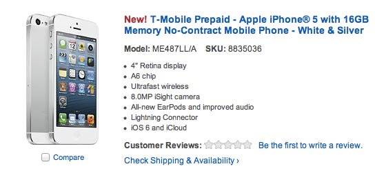 TMobile prepaid iPhone 5 offered by Best Buy and Walmart Prepaid