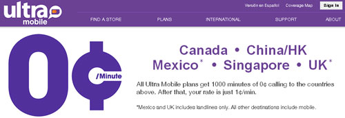 All Ultra Mobile plans now include free international calling, first 1,000 min to select countries