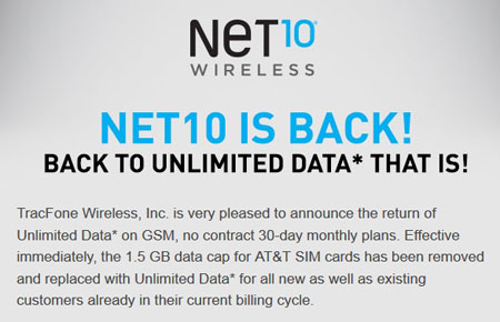 Data cap on Net10 AT&T SIM cards removed, unlimited data back again