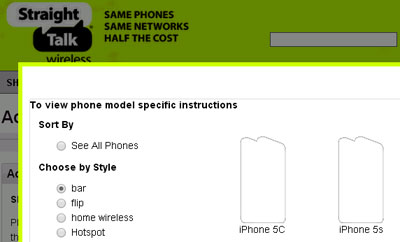 Reference to Straight Talk iPhone 5C and 5S discovered on its website