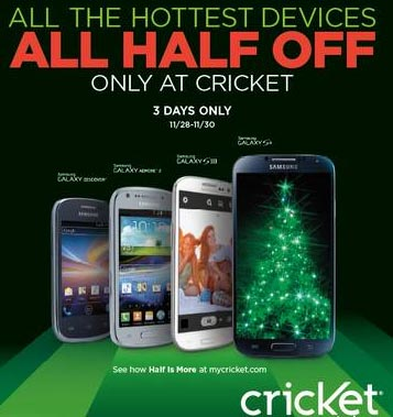 Cricket Black Friday deal for 2013 – all smartphones at half price