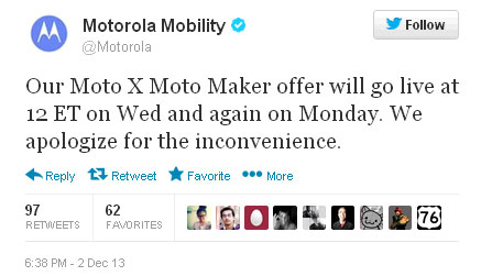 Motorola postpones Moto X Cyber Monday deal to Dec. 4 and Dec. 9