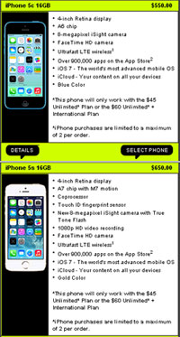 NET10 and Straight Talk iPhone 5S and 5C AT&T compatible available now