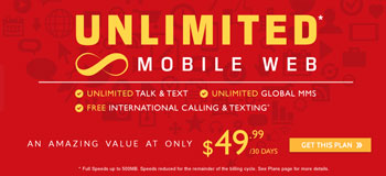 Red Pocket includes unlimited data on $49.99 plan with 500 MB at fast speeds