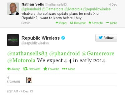 Republic Moto X KitKat update to arrive in early 2014