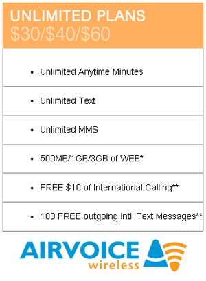 Airvoice Wireless adds 500MB to its $30 Unlimited Plan