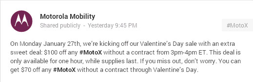 Off-contract Moto X $100 off on Jan. 27, $70 off on Valentine's Day