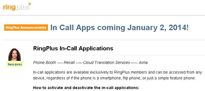 RingPlus In-Call Apps announced at the CES 2014