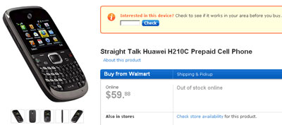Straight Talk Huawei H210C, Verizon feature phone, available now at Walmart stores