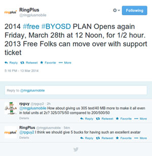 RingPlus 2014 Free Plan to be available again on March 28