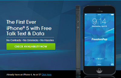 FreedomPop selling iPhone 5 now for $349, users can bring used iPhone 4, 4S and 5 to activate