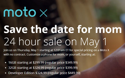 No-contract Moto X discounted on May 1, one day sale