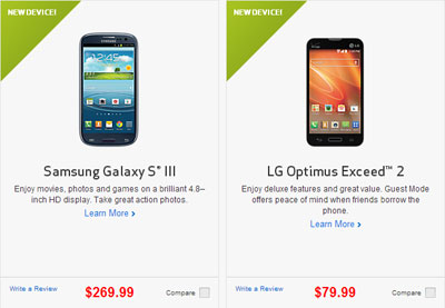 Verizon prepaid Samsung Galaxy S3 and LG Optimus Exceed 2 available now
