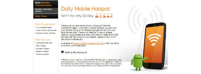 Boost Mobile Shrinkage Plan no longer offered, Daily Mobile Hotspot available instead of Monthly