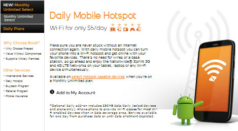 Boost Mobile Shrinkage Plan no longer offered, Daily Mobile Hotspot