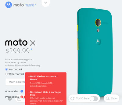 Motorola offers Net10 Moto X for $229 for a limited time