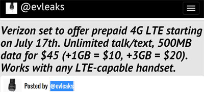 Verizon prepaid 4G LTE leaks again