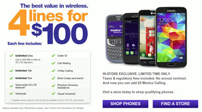 MetroPCS family plan promotion, four lines for $100, available again
