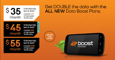 Boost Mobile Data Boost promo plans with double high speed data for $5 less per month now available