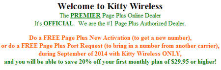 Kitty Wireless offering PagePlus September promotion