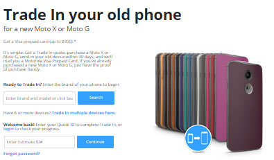 Buy new Moto G or Moto X, trade in old phone and get up to $300