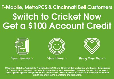 Cricket extends $100 credit for T-Mobile and MetroPCS customers who port until Nov. 2