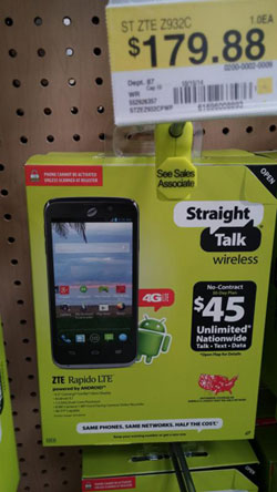 Straight Talk ZTE Rapido LTE, first Verizon-compatible LTE smartphone, found at Walmart store