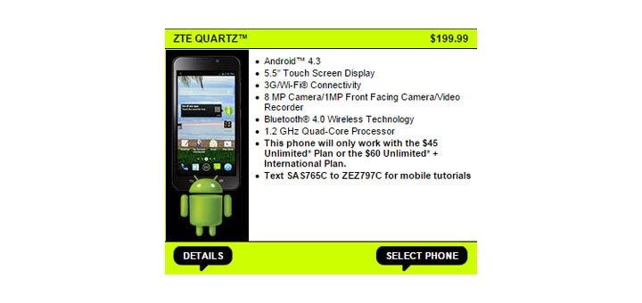 Straight Talk adds ZTE Quartz to its prepaid phone lineup for $199.99