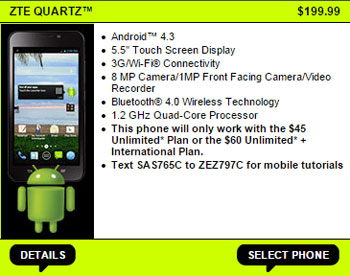 Straight Talk Promo Code for ZTE Quartz