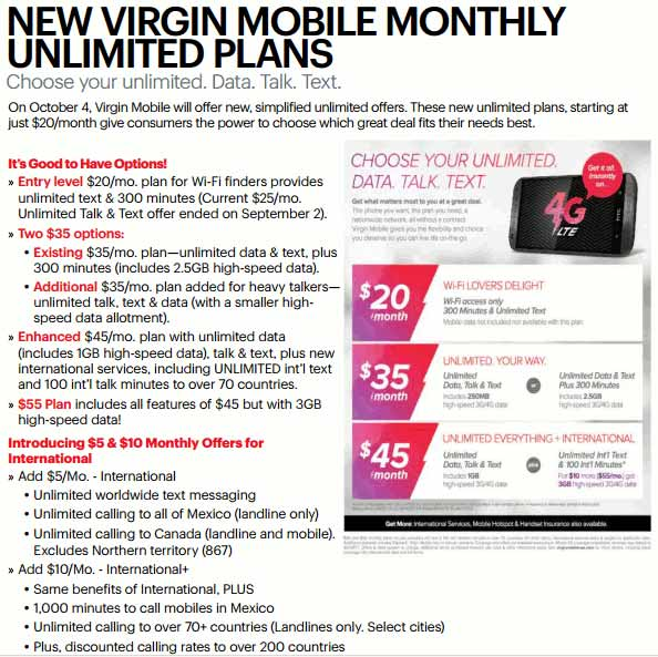 Virgin Mobile new plans
