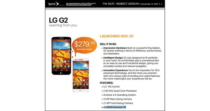 Boost Mobile LG G2 arrives November 21 for $279.99