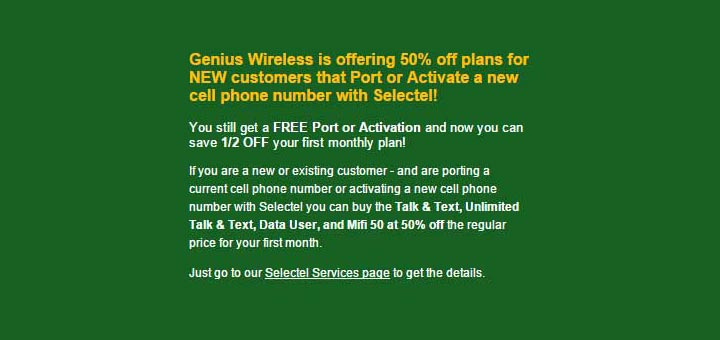 Genius Wireless offering 50 percent off first month of service to Selectel customers in November