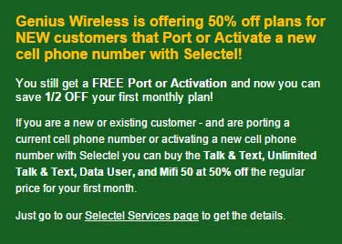 Genius Wireless offering 50 percent off first month of service for Selectel customers in November