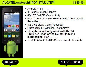 Straight Talk Alcatel One Touch Pop Star LTE available now for