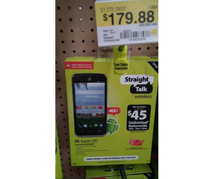 Straight Talk ZTE Rapido LTE, first Verizon-compatible LTE phone, found at Walmart store