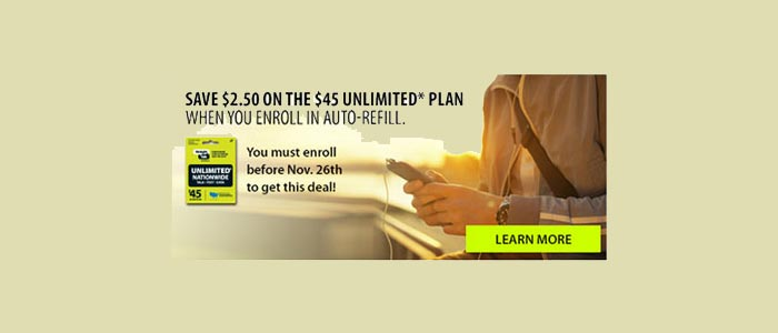 Straight Talk takes $2.50 off of the $45 plan if customers enroll in Auto Pay before Nov. 26